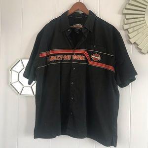 Harley Davidson Black Short-sleeve Button Down XL